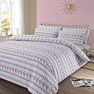 Dreamscene Duvet Cover with Pillowcase Geometric Rewind Bedding Set, Blush Pink White Grey - Single - cheap UK light shop.