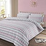 Dreamscene Duvet Cover with Pillowcase Geometric Rewind Bedding Set, Blush Pink White Grey - Double