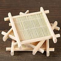 HITSAN 4pcs Bamboo Tea Cup Mat Coaster Kungfu Tea Scald Proof Cup Mat Coaster