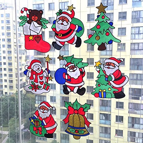 Takestop set 2 pezzi decorazioni adesive natalizie 42 cm natale adesivi per vetro finestre vetrine stickers vetrofania gel fantasie miste 0540