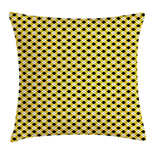 Cupsbags Geometric Throw Pillow Cushion Cover, Argyle Pattern with Rhombuses and Dotted Lines Grid Plaid Design, Decorative Square Accent Pillow Case, Yellow Black and White20 Argyle Slip