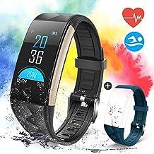 """Pulsera Actividad con Pantalla Color 0.96""""OLED Pulsómetro Ritmo Cardíaco, Banlvs Pulsera Inteligente Impermeable IP67 Reloj Inteligente para iOS y Android"""