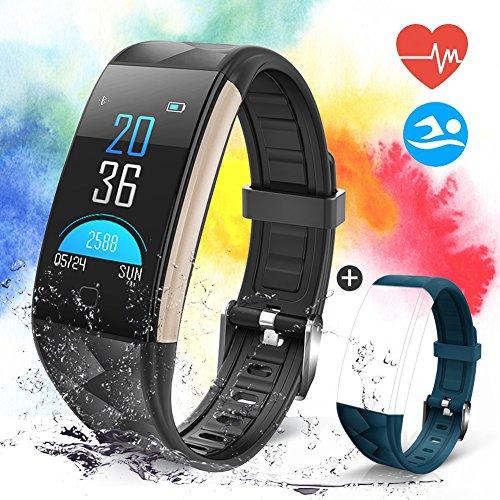 Pulsera Actividad con Pantalla Color 0.96'OLED Pulsómetro Ritmo Cardíaco, Banlvs Pulsera Inteligente Impermeable IP67 Reloj Inteligente para iOS y Android