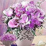 Unbekannt Set Diamond Painting Bild Handarbeit Set Basteln Blumen Strauß Vase 42 x 32 cm