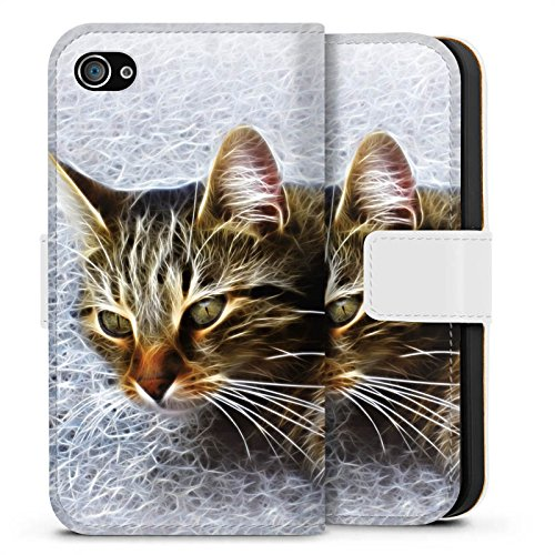 Apple iPhone X Silikon Hülle Case Schutzhülle Katze Cat Kätzchen Sideflip Tasche weiß