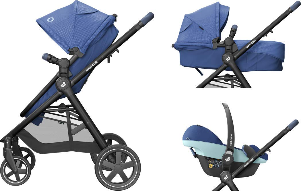 Maxi-Cosi Zelia Baby Pushchair, Lightweight Urban Stroller from Birth, Travel System with Bassinet, 15 kg, Essential Blue Maxi-Cosi Flexible stroller from birth to 3.5 years 2-in-1 seat unit: zelia's seat transforms into a pram bassinet for use from 0 - 12 m in a single movement This city stroller is easy to carry thanks to its lightweight 14