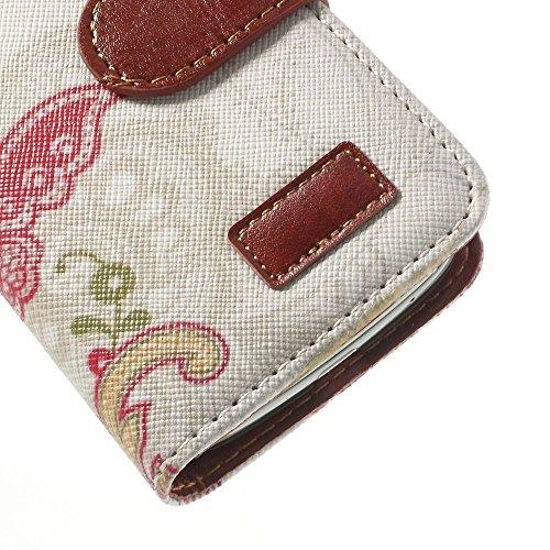 [A4E] Handyhülle passend für Apple iPhone 4 (4G;4S) Kunstleder Tasche, Hülle, Schutzhülle, seitlicher Magnetverschluss, mit schönem floralen Muster (weiß, rot, braun, grün, gelb) Florales Tribal