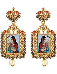 Padmavati Styled Square Shape With LCT Stone Gold Plated Dangle Earring For Women By Asmitta