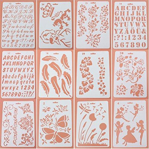 Tagebuch Schablonen Set, ♣ buyby Spielzeug 12Stück Kunststoff Vorlage DIY Zeichnen Planer für Diary Scrapbook Craft Notebook