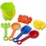 Unbekannt Sandspielzeug Krabbe + Fisch Strandspielzeug Forke, Sieb 2 x Schaufel und Eimer Sandkasten Spielzeug