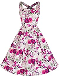 Pretty Kitty Fashion Rosa Blumen Cross Zurück Rockabilly Swing-Kleid Baumwolle 50er Kleid