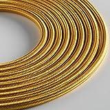 Klartext - Cavo tessile tondo LUMIÈRE per illuminazione, 3x0,75mm, Oro, 5mt.|Attenzione: cavo terra incluso! Massima sicurezza anti scossa!