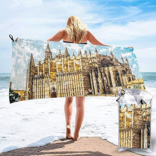 Tedtte Schnell trocknendes Strand-Reise-Camping-Tuch, große gotische Gebäude-Seeufer-Kathedrale von Palma de Mallorca-Ansicht vom Straßen-Badetuch 160X80 cm