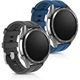 kwmobile 2X Pulsera Compatible con Huawei Watch GT (46mm) - Brazalete de Silicona Negro/Azul Oscuro sin Fitness Tracker