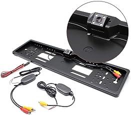 OUKANING 4 LED Funk Rückfahrkamera Nummernschild Kennzeichen Einparkhilfe Kabellos mit 170 Sichtwinkel IP67 Wasserdicht HD Nachtsicht Funktion