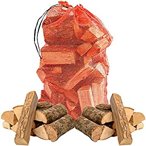 The Log HUT® Quality Hardwood ASH Kiln Dried Wooden Logs - Coal Alternative Fuel for Hotter Burning Fires. Firepits. Firewood Moisture Reduced to Only 20% - Comes with The Log HUT® Woven Sack.