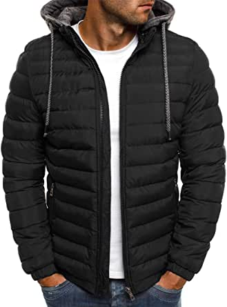 Men Puffer Jacket Men Hoodie Autumn and Winter Warmth Ski Camping Outdoor Sports and Leisure Long Sleeve Fashion Zipper Pocket Men Jacket