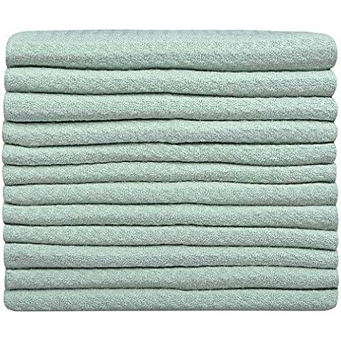 Sinland Paño de microfibra para limpieza con diseño en ondas paños de cocina toallas de cocina trapos de cocina toallas de mano(Verde,30x30cm x 12 unidades)