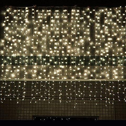HanLuckyStars 300 LEDs 3M x 3M Luces de Cortinas de LED Malla Red de LED Brillante on 8 Modelos de Iluminación para Adornos Boda Ceremonia Árbol de Navidad Fiesta (Blanco Cálido)
