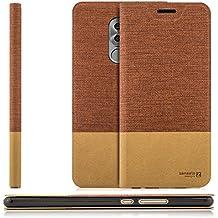 Custodia Huawei Honor 6X Cover Flip Wallet [Zanasta Designs] Case Copertura con Portafoglio - Pieghevole con Porta Carte, Alta Qualità | Rosso marrone