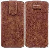 Burkley Wetcase Leder Handy-Tasche für Apple iPhone SE / 5 / 5S / 5C Sleeve Etui Schutz-Hülle mit Easy-Out System und Klettverschluss in dunkel braun