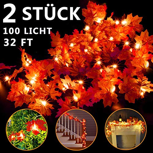 SHUNDATONG 2 Pack Fall Maple String Light,Total 32Ft / 100 LED Lights Garland Wreath Decorations for Party Halloween Thanksgiving Christmas Festival Decor Indoor Home Outdoor Garden Patio Gift 3AA Battery Powered