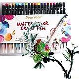 Aquarell Pinsel Stifte - Juleya 20 Farben Wasser basierte weichen Pinsel Spitze Marker weichen flexiblen Kunst Tinte Malerei erstellen Aquarell Pinsel Stifte Set