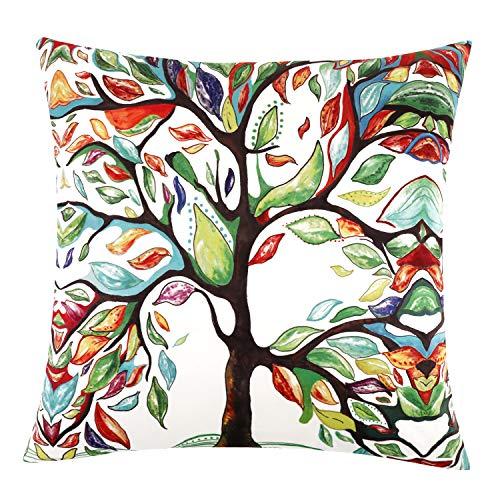 Lewondr fodera cuscino, copri cuscino velluto 100% 45x45cm quadrata con chiusura a cerniera nascosta, stile moderno federa per arredamento divano, letto, arredamento casa - colorful tree