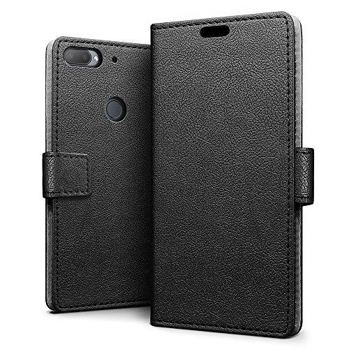 SLEO HTC Desire 12 Plus/12+ Hülle, PU Leder Case Tasche Schutzhülle Flip Case Wallet im Bookstyle für HTC Desire 12 Plus/12+ Cover - Schwarz