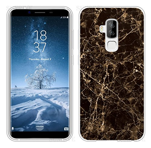 Sunrive Für HOMTOM S8 Hülle Silikon, Transparent Handyhülle Schutzhülle Etui Case Backcover für HOMTOM S8(TPU Marmor Schwarzer)+Gratis Universal Eingabestift
