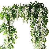 Lanyifang 4pcs Fleurs Artificielles en Soie Guirlande de Glycine Fleur Suspendue Décoration pour Jardin Maison Mur Cérémonie Mariage Arche Floral (Blanc)
