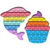 Azbel 2pcs Push Pop Bubble Sensory Fidget Toy, Pop It Figit Jouet Fidget Jouets autisme Besoins spéciaux Anti-Stress, Push Ga