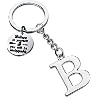 FUSTMW Initial Keychain Alphabet Initial Letter Key Ring Pendant Inspiration Gifts