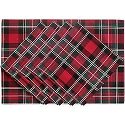 SORRENTO juego de 4piezas mantel individual mesa con 4piezas mesa servilletas Jacquard conjunto de mesa de diseño de cuadros escoceses rojos