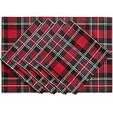 SORRENTO conjunto de 4 piezas con manteles de mesa 4 piezas de diseño Jacquard pañuelo rojo cuadro de cuadros