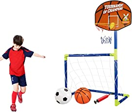 Inditake 2-in-1 Portable Football Door and Basketball Backboard Children's Removable Folding Football Door Toy