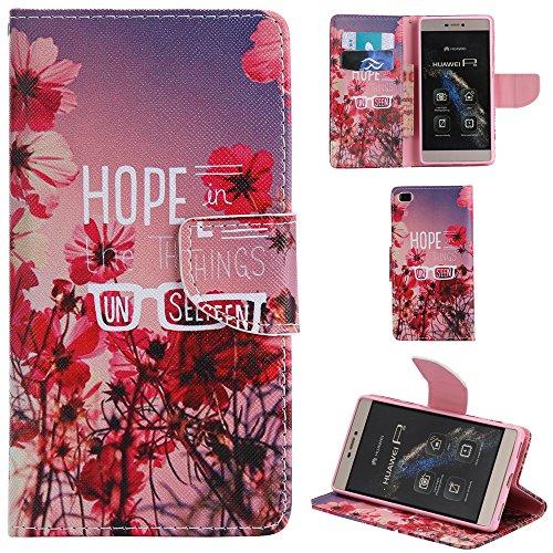 Ooboom® Huawei P8 Lite Coque PU Cuir Flip Housse Étui Cover Case Wallet Portefeuille Fonction Support avec Porte-cartes pour Huawei P8 Lite - Don't Touch My iPhone Hope