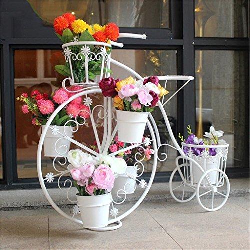 Estante de metal para plantas de gran tamaño para bicicleta, balcón para interiores y exteriores, estante de almacenamiento para macetas, balcón, sala de estar, estante de pie de varias capas estilo vintage, blanco