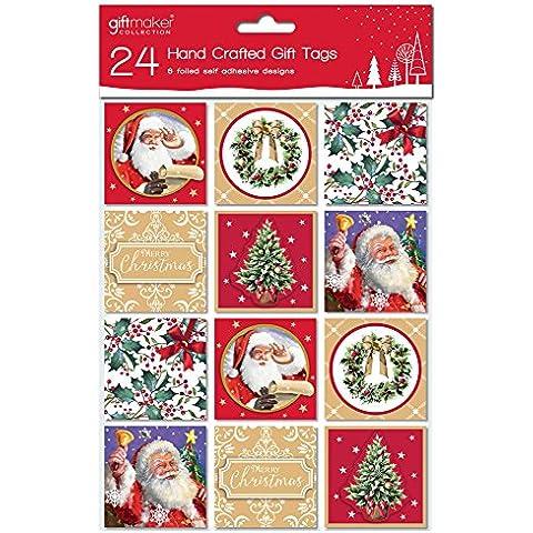 24Unidades Peel & Stick Etiquetas de Regalo de Navidad hecha a mano–6Diseños Robin Árbol de Papá Noel