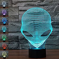 3D illusione lampada luce notturna Jawell Martian cambia 7colori touch USB Nice Gift Toys addobbi