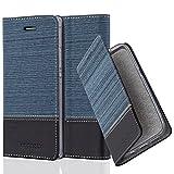 Cadorabo Custodia Libro per Huawei P7 in Azzurro Scuro Nero – con Vani di Carte, Funzione Stand e Chiusura Magnetica – Portafoglio Cover Case Wallet Book Etui Protezione