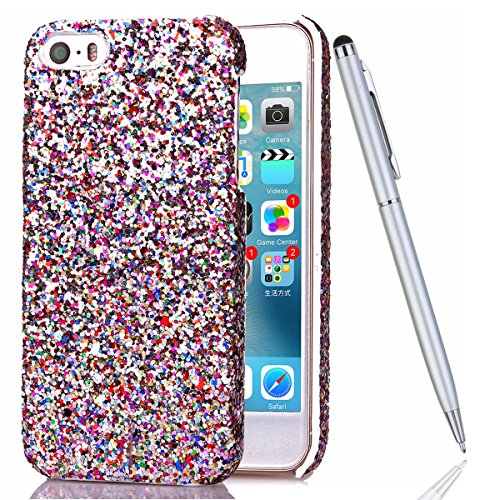iPhone 5S Coque,iPhone SE Silicone Coque,iPhone 5 Housse - Felfy Glitter Etui Housse Placage Coque en Silicone Ultra-Mince Etui Soft Housse Plating Case Slim Gel Cover, Felfy Etui de Protection Cas Ul blanc luxe