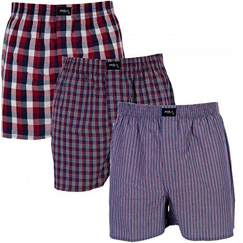 MG-1 3 er Pack Webboxer/Boxershorts Herren American Shorts Sparpaket Farbwahl, Grösse:L - 6-52, Farbe:Set 2