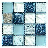 Prosperveil 20PCS Mosaic Wall Tile Transfers Stickers Self Adhesive Waterproof Kitchen Bathroom Tile Wall Sticker Vinyl Art Decals Home Decoration 10 x 10 cm (Blue)