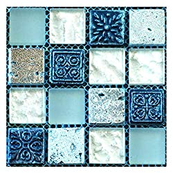 Prosperveil 20PCS Mosaic Wall Tile Transfers Stickers Self Adhesive Waterproof Kitchen Bathroom Tile Wall Sticker Vinyl Art Decals Home Decoration 10 x 10 cm (Blue)