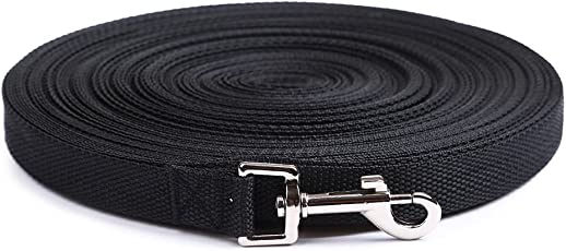 Dog Training Lead Long Rope Cotton Nylon Webbing Recall Obedience Line Leash for Pet 3m/10ft, (Black)