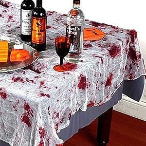 Gifts 4 All Occasions Limited SHATCHI-672 - Mantel para mesa (60 x 84 pulgadas), diseño de Halloween, color blanco y rojo