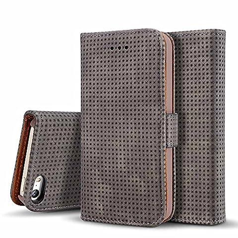 iPhone SE Hülle, Dfly Handy Hülle iPhone 5 / iPhone 5S Schutzhülle Tasche mit Kartenfach Aufstellfunktion Magnetverschluss mit Breath Funktion, Dunkel Grau