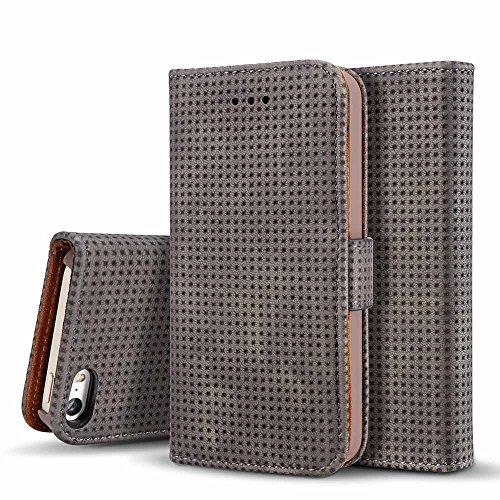 Custodia iPhone 6/6s/6 Plus/6s Plus/7/7 Plus - Dfly Custodia In Pelle Con Invisibile Forte Inarcamento Magnetico Doppio Side Magnete Design Flip Cover Custodia Grigio