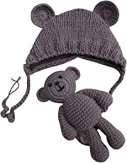 Newborn Photography Props Cute Knitted Hat Boys Girls Photo Shoot Cap with Crochet Toy Bear (Khaki)